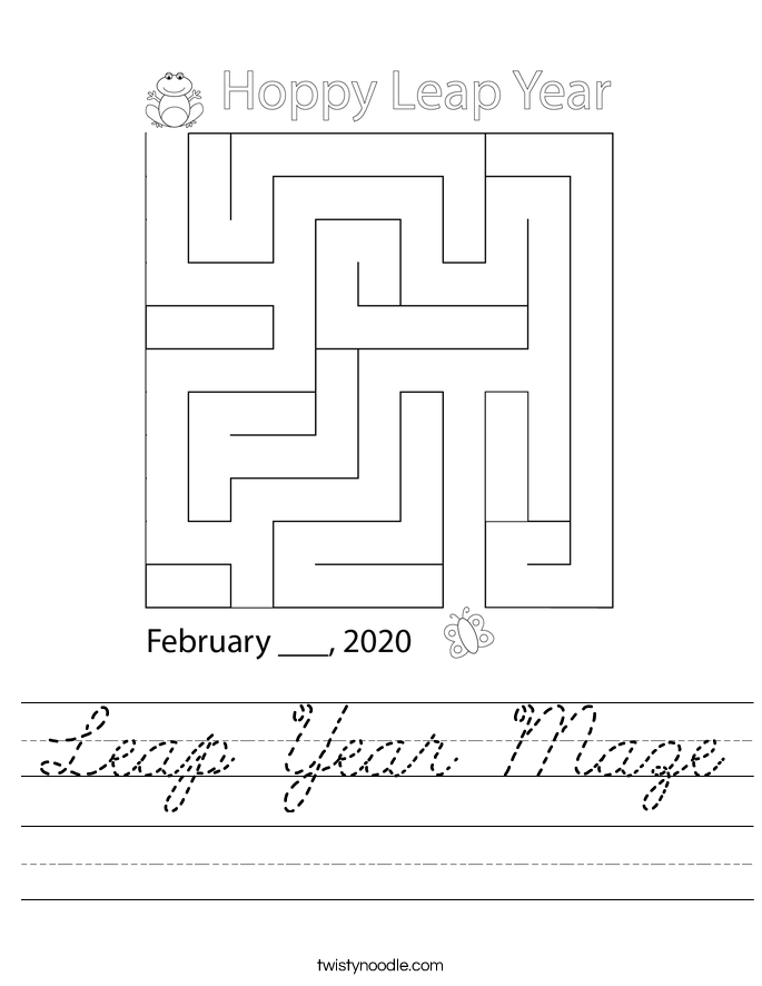 Leap Year Maze Worksheet