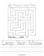 Leap Year Maze Handwriting Sheet