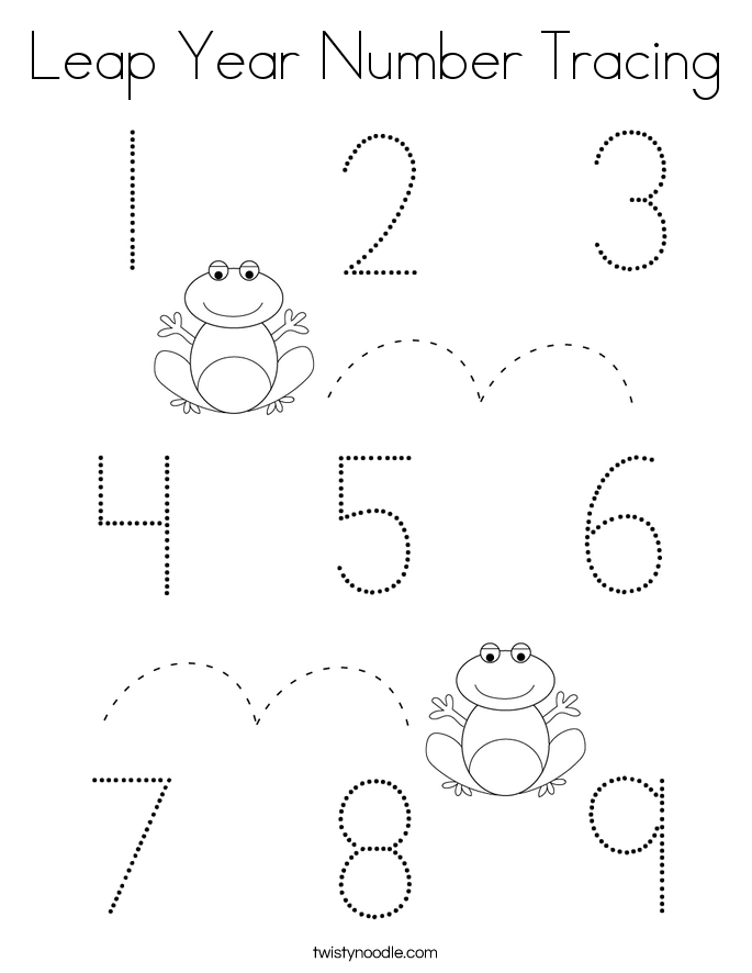 Leap Year Number Tracing Coloring Page