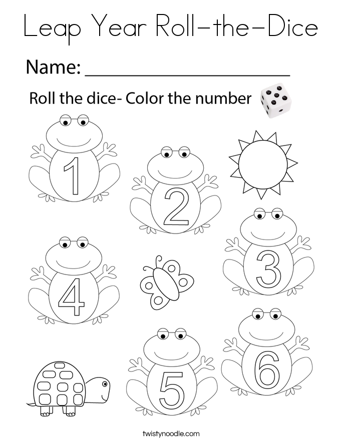Leap Year Roll-the-Dice Coloring Page