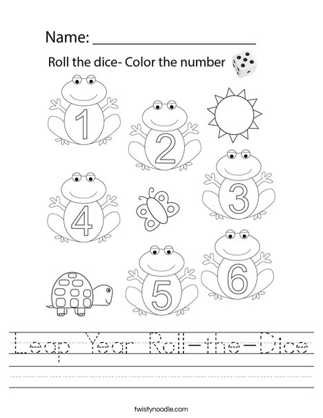 Leap Year Roll-the-Dice Worksheet