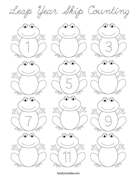 skip counting coloring pages | Leap Year Skip Counting Coloring Page - Cursive - Twisty ...