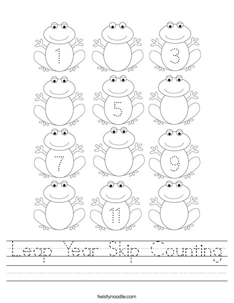 Leap Year Skip Counting Worksheet