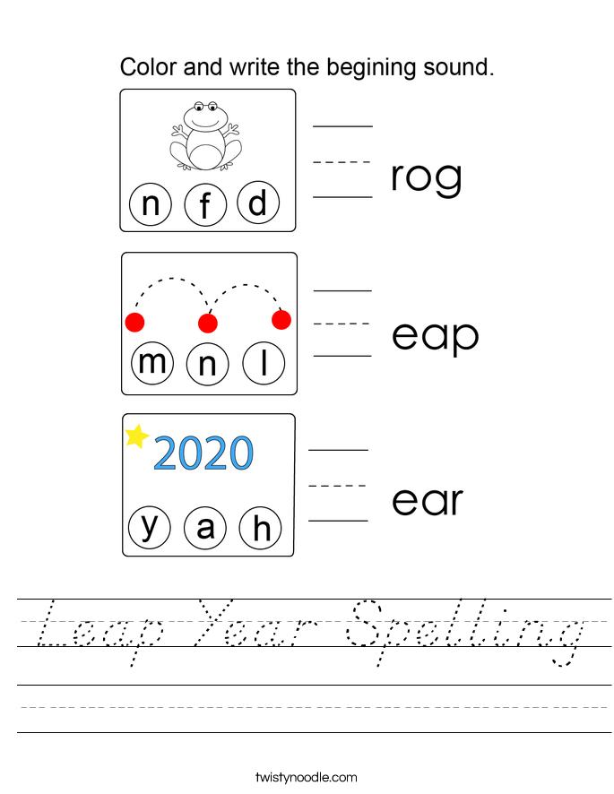 Leap Year Spelling Worksheet