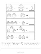 Leap Year Subtraction Handwriting Sheet