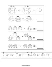 Leap Year Subtraction Handwriting Sheet