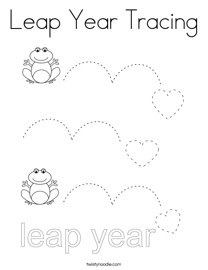 Leap Year Tracing Coloring Page