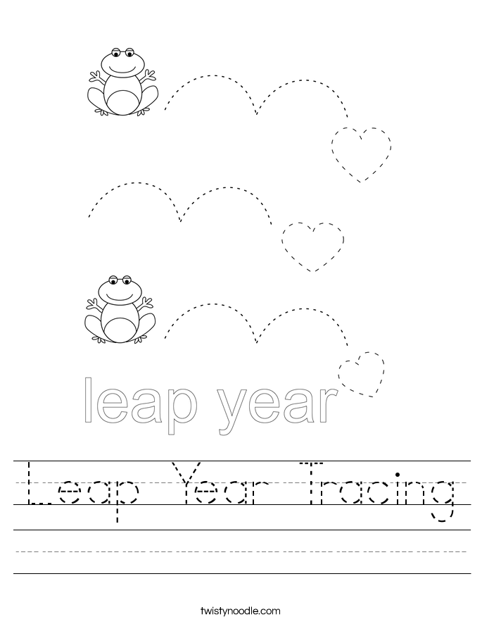 Leap Year Tracing Worksheet