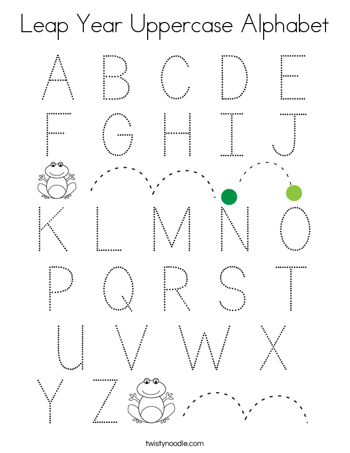 Leap Year Uppercase Alphabet Coloring Page - Twisty Noodle