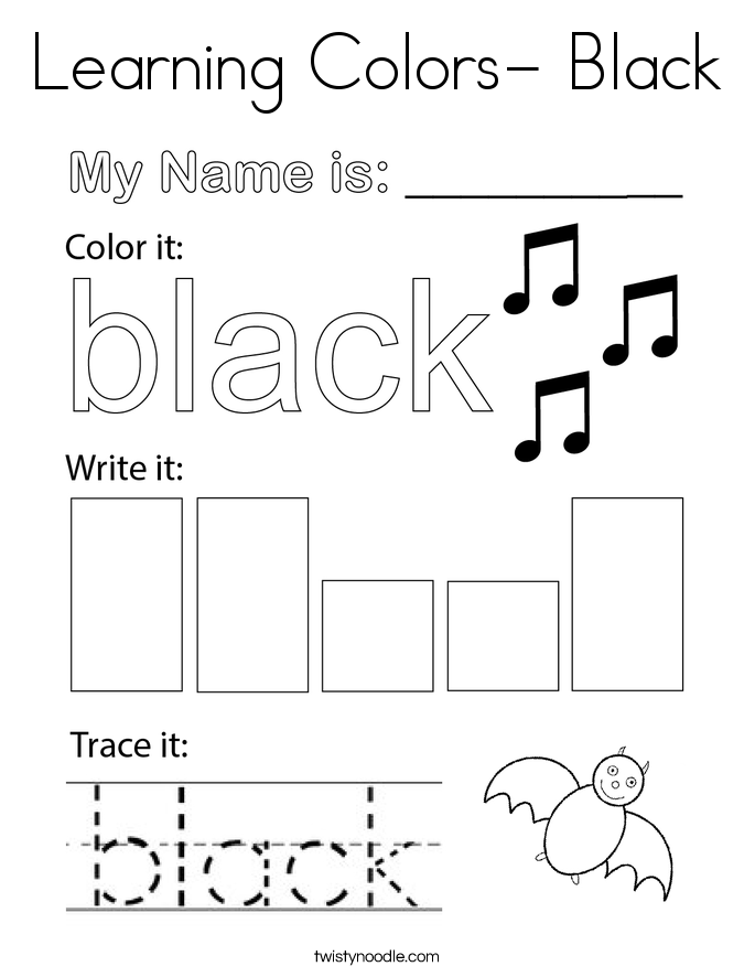 Learning Colors- Black Coloring Page