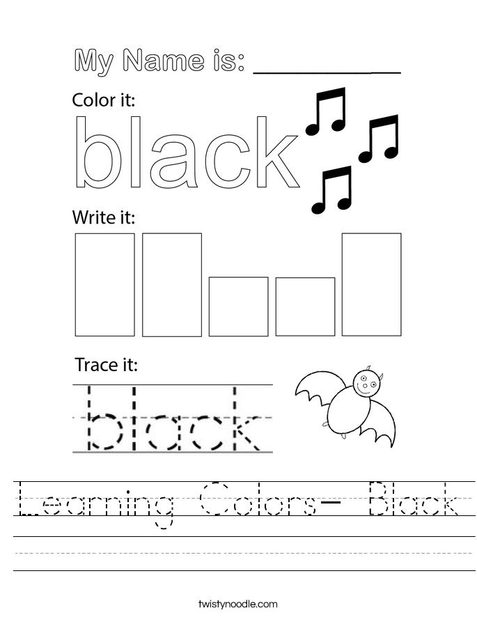Learning Colors- Black Worksheet