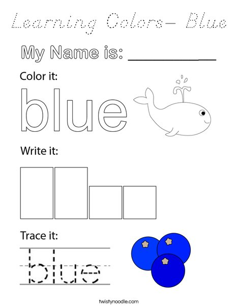 Learning Colors- Blue Coloring Page