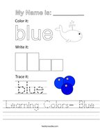 Learning Colors- Blue Handwriting Sheet
