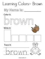 Learning Colors- Brown Coloring Page