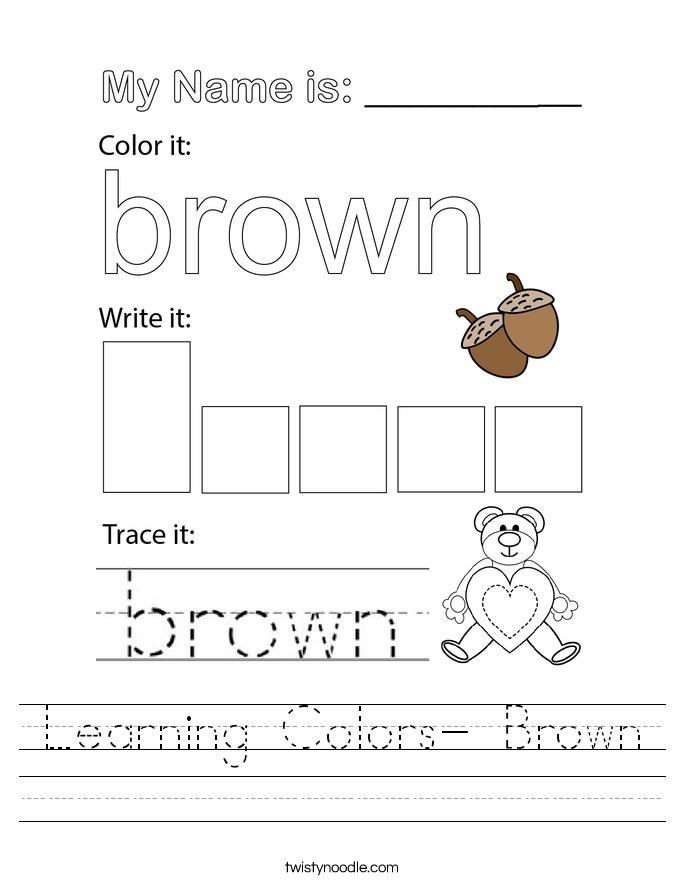 Learning Colors- Brown Worksheet