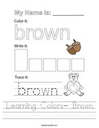 Learning Colors- Brown Handwriting Sheet