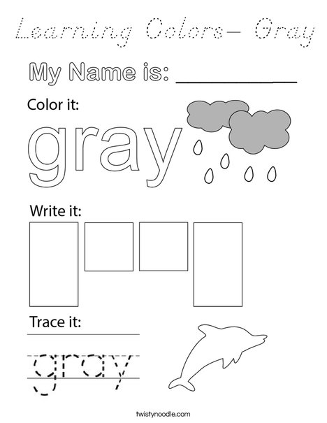 Learning Colors- Gray Coloring Page
