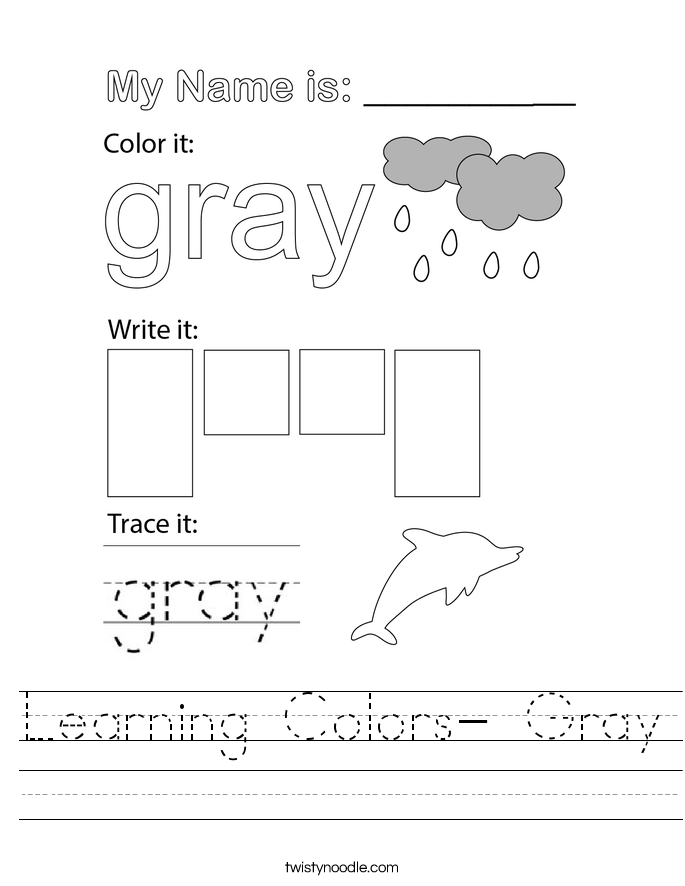 Learning Colors- Gray Worksheet