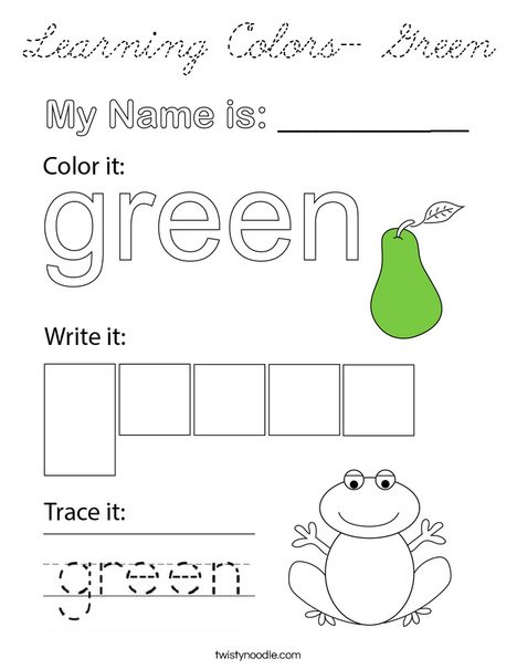 Learning Colors- Green Coloring Page