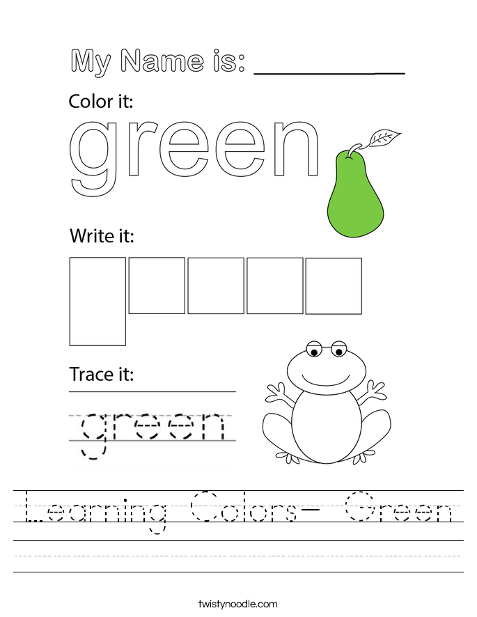 Learning Colors- Green Worksheet