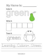 Learning Colors- Green Handwriting Sheet