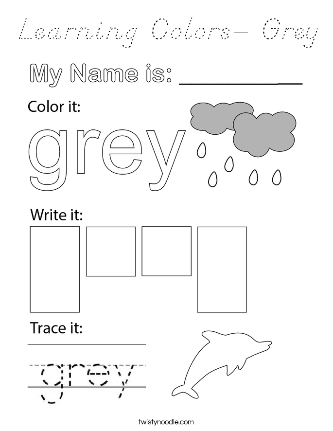 Learning Colors- Grey Coloring Page