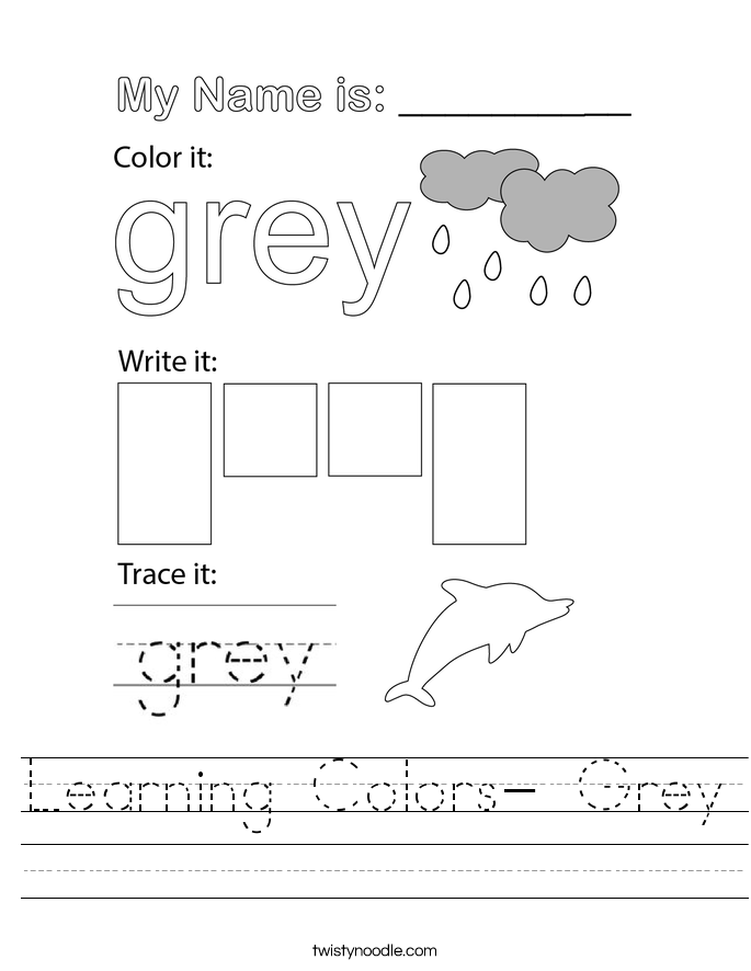 Learning Colors- Grey Worksheet