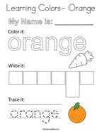 Learning Colors- Orange Coloring Page