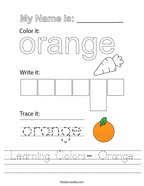 Learning Colors- Orange Handwriting Sheet