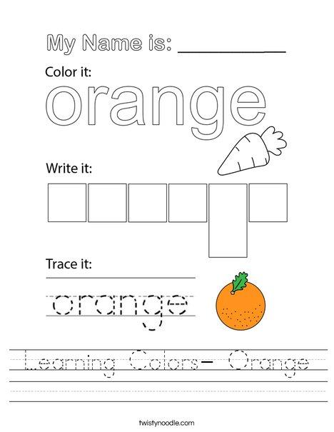 Learning Colors- Orange Worksheet