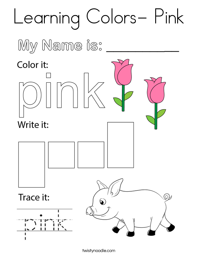 Learning Colors- Pink Coloring Page