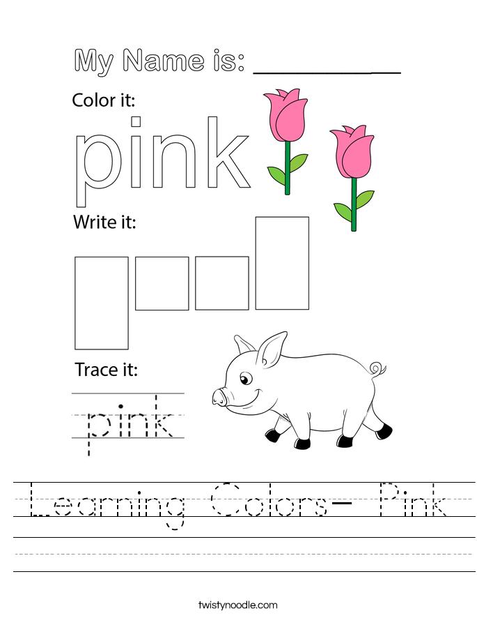 Learning Colors- Pink Worksheet