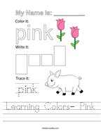 Learning Colors- Pink Handwriting Sheet