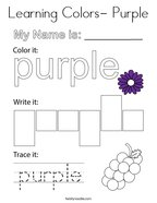 Learning Colors- Purple Coloring Page