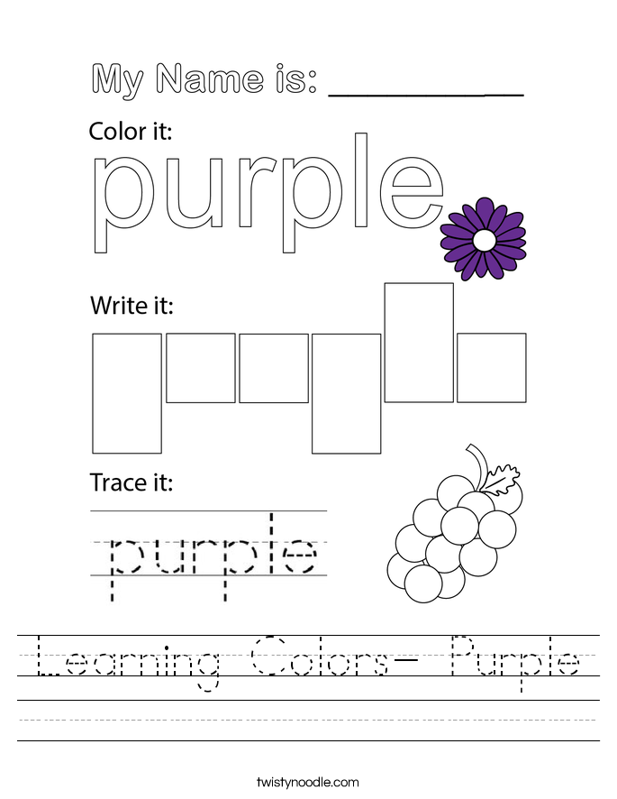 Learning Colors- Purple Worksheet