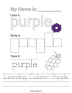 Learning Colors- Purple Handwriting Sheet
