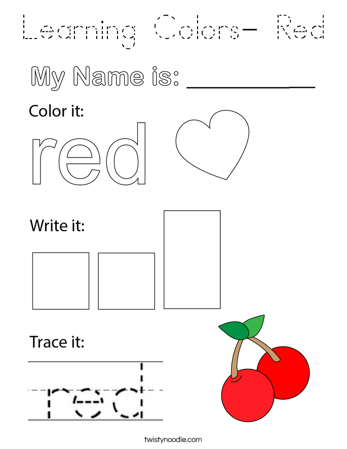 Learning Colors- Red Coloring Page