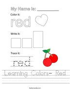 Learning Colors- Red Handwriting Sheet