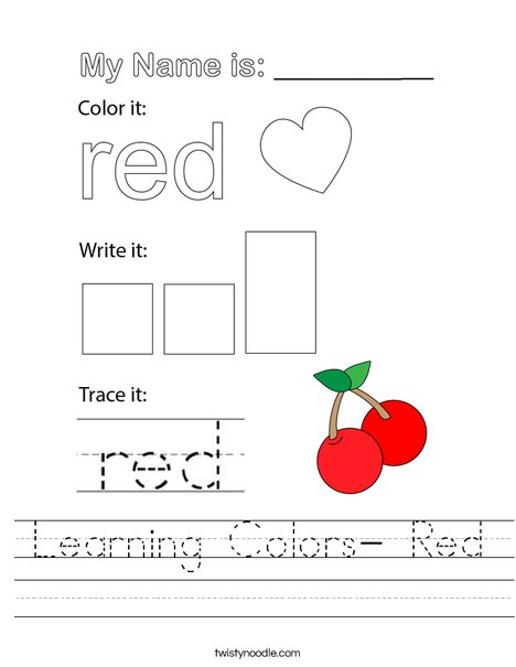 Learning Colors- Red Worksheet
