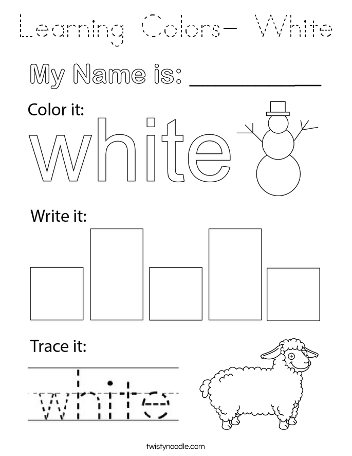 Learning Colors- White Coloring Page