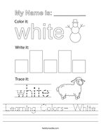 Learning Colors- White Handwriting Sheet