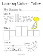 Learning Colors- Yellow Coloring Page