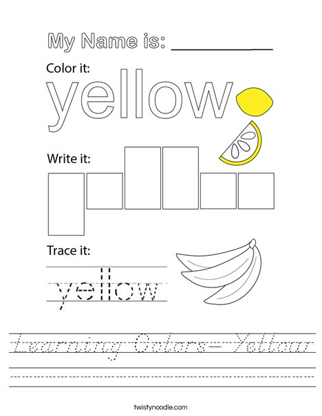 Learning Colors- Yellow Worksheet