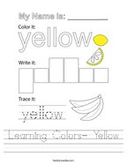 Learning Colors- Yellow Handwriting Sheet