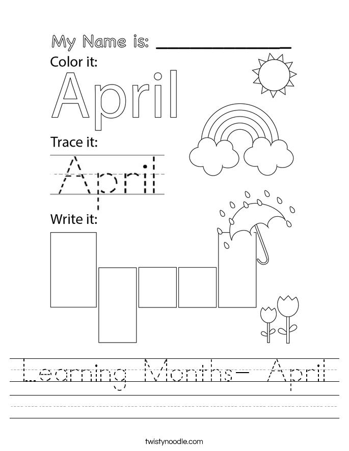 Learning Months- April Worksheet