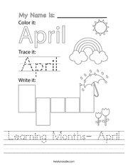 Learning Months- April Handwriting Sheet