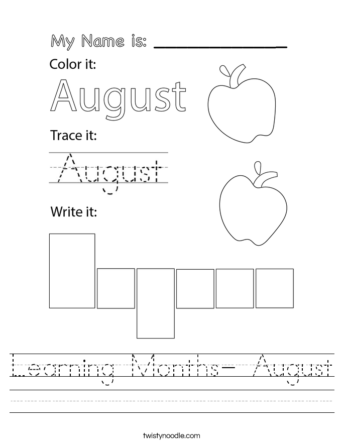Learning Months- August Worksheet