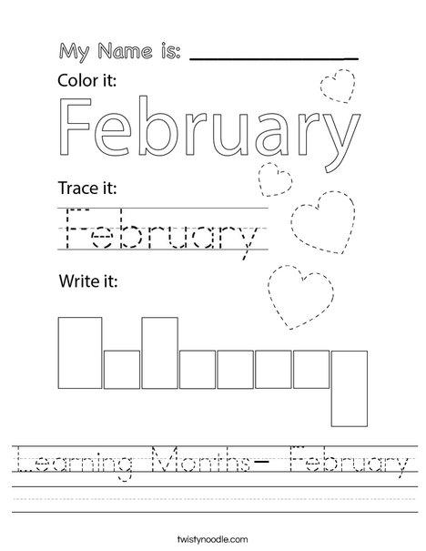 Learning Months- February Worksheet