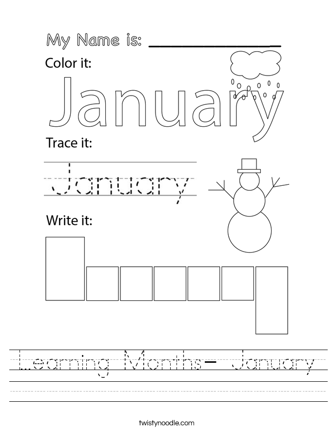 Learning Months- January Worksheet