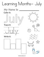 Learning Months- July Coloring Page